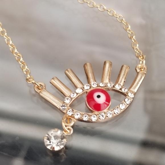 3/30 Red Evil Eye Gold Necklace